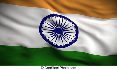 drapeau, indien, looped., hd.