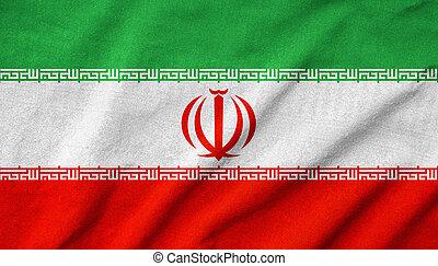 drapeau, iran, a froissé