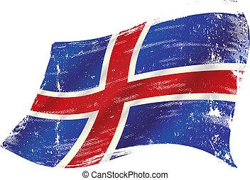 drapeau, islandais, grunge