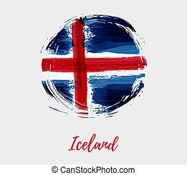 drapeau islande, grunge, rond