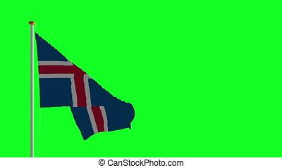 drapeau islande, vert, écran