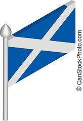 drapeau, isométrique, mât, vecteur, illustration, ecosse