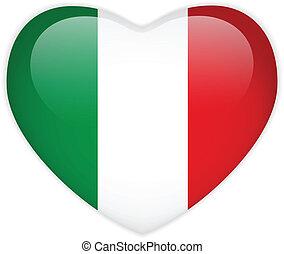 drapeau italie, coeur, lustré, bouton