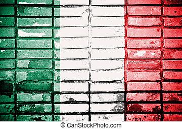 drapeau italie, peint, sur, mur brique