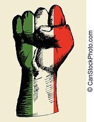 drapeau, italie, poing