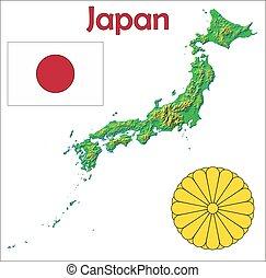 drapeau japon, carte, manteau