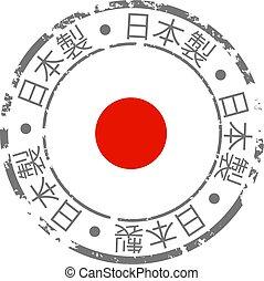 drapeau japon, fait, grunge, icône