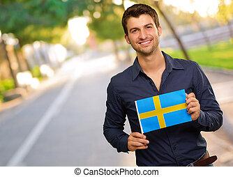 drapeau, jeune, suède, tenue, heureux, homme