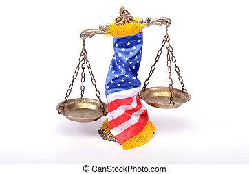 drapeau, justice, roulé, américain, balances