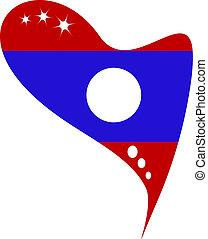 drapeau, laos, dans, coeur