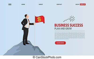 drapeau, leadership., éditorial, planter, vecteur, carrière, success., mountain., victoire, concept, symbole, homme affaires, accomplissement, sommet, business