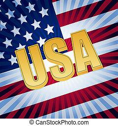 drapeau, lettres, américain, usa, briller