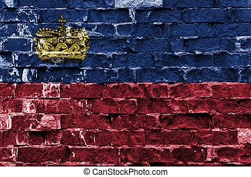 drapeau liechtenstein, peint, sur, mur brique
