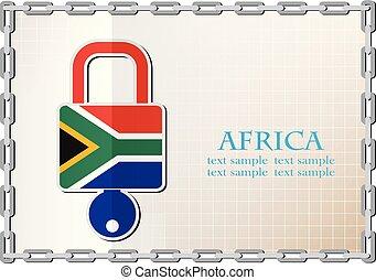 drapeau, logo, fait, afrique, serrure
