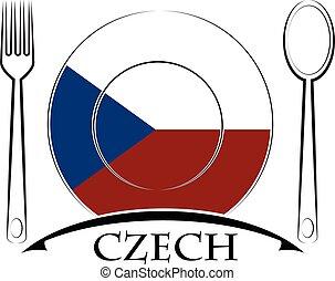 drapeau, logo, fait, tchèque, nourriture