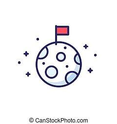 drapeau, lune