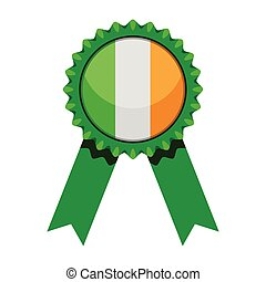 drapeau, médaille, isolé, irlande