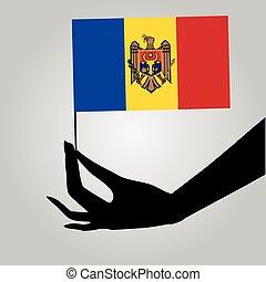 drapeau, main, moldavie