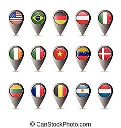 drapeau, marqueurs
