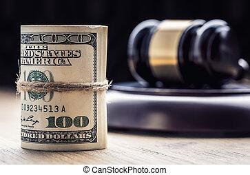 drapeau, marteau, billets banque., corruption, encore, arrière-plan., justice, usa, dollars, roulé, marteau, judiciaire, gavel., vie, billets banque, nous, système, tribunal, juge, corruption