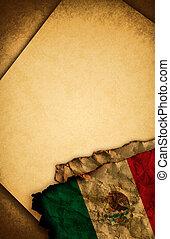 drapeau mexicain, papier, vieux