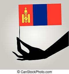 drapeau, mongolie, main