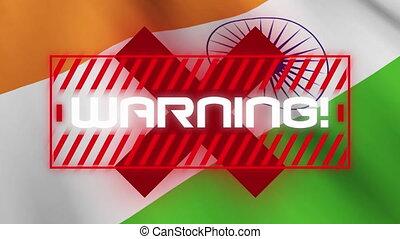 drapeau, mot écrit, sur, avertissement, arrière-plan., ...