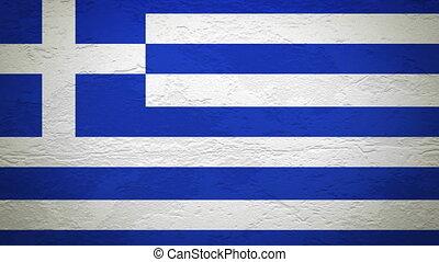 drapeau, mur, grèce, explosion