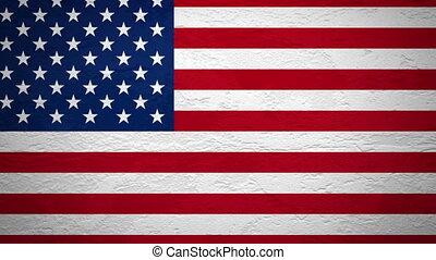drapeau, mur, usa, explosion