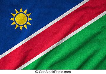drapeau, namibie, a froissé