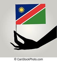 drapeau, namibie, main
