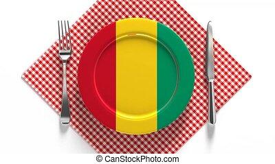 drapeau, national, plaque, guinea., recettes, plats,...