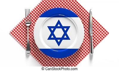 drapeau, national, plaque, recettes, plats, cuisine, israel...