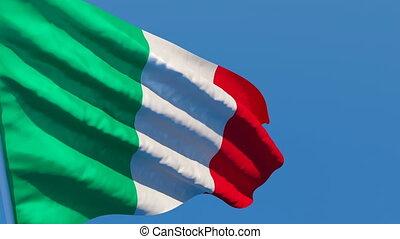 drapeau national, vent, voler, italie