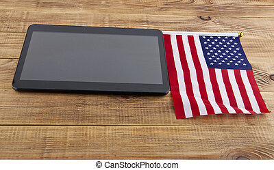 drapeau, noir, usa, tablette