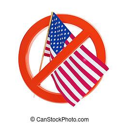 drapeau, non, usa, icône