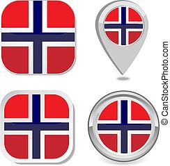 drapeau norvège, icône, autocollant, bouton, carte
