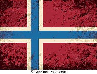 drapeau norvégien, grunge, arrière-plan.
