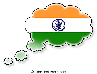 drapeau, nuage, isolé, fond, blanc