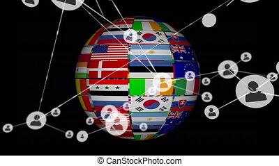 drapeau, numérique, globe, en mouvement, connecteurs,...