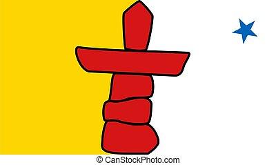 drapeau, nunavut, état, canadien