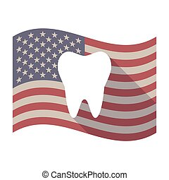 drapeau, ombre, long, usa, dent