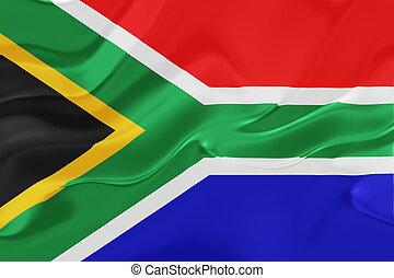 drapeau, ondulé, afrique, sud