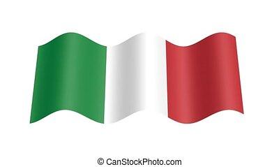 drapeau, ondulé, italien