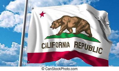 drapeau ondulant, 4k, agrafe, california.