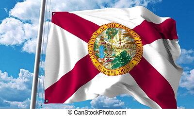 drapeau ondulant, 4k, agrafe, florida.