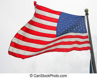 drapeau ondulant, américain, vent