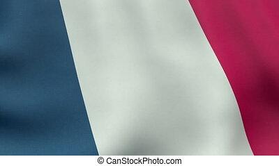 drapeau ondulant, animation, loopable, francais