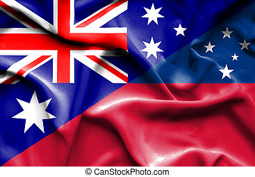 drapeau ondulant, australie, samoa