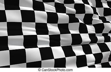 drapeau ondulant, checkered